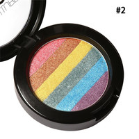 Hot Rainbow Highlighter Makeup Palette Cosmetic Blusher Shimmer Powder Contour Eye shadow Face Changing Highlight
