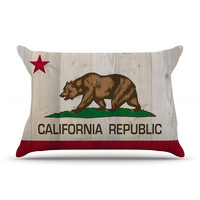 "Bruce Stanfield ""California Flag Wood"" Brown Pillow Case"
