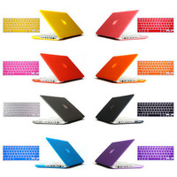"""2in1 freeship gift Matte Hard Crystal Glossy Cover Case shell + Keyboard Skin For 11"""" 12"""" 13"""" 15"""" inch Macbook Air Pro Retina"""