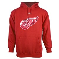 Old Time Hockey Detroit Red Wings Red Big Logo with Crest Pullover Hoodie