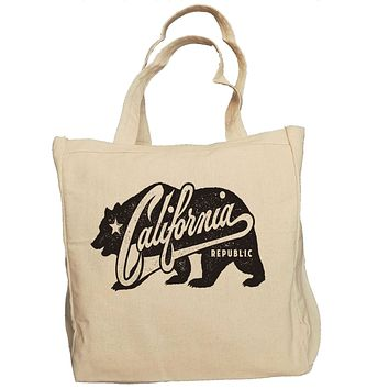 Ink Trendz® California Republic Grunge Bear 10oz. Natural Canvas Cotton Tote
