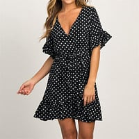 Chiffon Dress Style Beach Dress Fashion Short Sleeve V-neck Polka Dot Party Dress Sundress Vestidos
