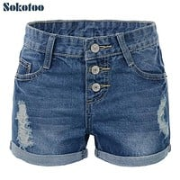 Sokotoo Plus size Large size denim shorts women holes buttons fly roll up hem hot jeans XXXXXXL Free shipping