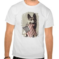 Dog Holding American Flag in Mouth Shirts