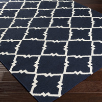 Frontier Navy and Ivory Wool Rug