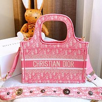 Dior shopping bag 2020 early  spring Mini Book Tote square bag advanced embroidery stitching pink