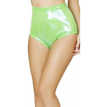 Sexy Lime Pull Up Comfort Top Band High Rise Pin Up Metallic Retro Shorts