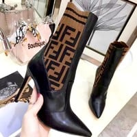 Free shipping-Fendi pointed knit stitching high heel boots