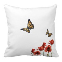 Butterfly and Red Poppy Cushion Throw Pillow