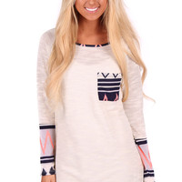 Ivory Terry Tunic with Coral Accent Patterned Detail