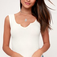 Ready or Notch White Ribbed Cropped Tank Top