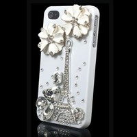 niceeshop(TM) Handmade 3D Fashion Bling Diamond Luxury Crystal Rhinestone Hard Cover Case for iPhone 4 4S + Screen Protector