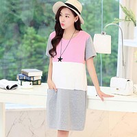 Spring Summer Maternity Clothes For Pregnant Women Lactating Patchwork Feeding Clothes Things for Nursing Mothers Pregnant Women