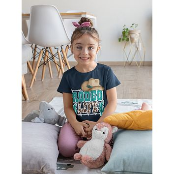 Kids Rodeo Shirt Rodeo Life T Shirt Cactus Cowboy Hat Wild West Graphic Western Tee Turquoise Boy's Girl's Soft Tee