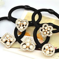 t32 Styles Flower Bow Pearl Crystal Scrunchie Ponytail Holder Hair Comb Hairpin free shipping