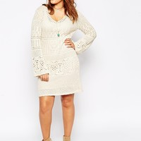 ASOS CURVE Swing Dress in Crochet with Fluted Sleeve