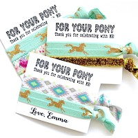 Girls Birthday Party Favors | For Your Pony , Hair Tie Favor, personalized favors, goody bag favors, kids birthday, boy, girl, teen tween