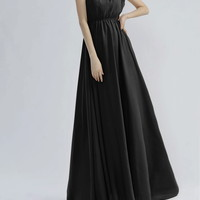 Golden Floral Edge Sleeveless Pleated Noble Style Polyester Maxi-Dress For Women