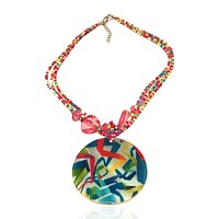 Abalone Beaded Statement Graphic Necklace Fiesta