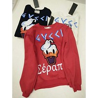 """Gucci"" Women Casual Fashion Pattern Letter Embroidery Long Sleeve Round Neck Sweater Tops"
