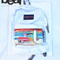 Custom Hand Painted JanSport Backpack - Sunset, Beach, Woody, and a Surfboard