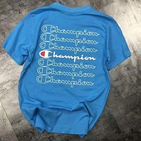 Champion Popular Women Men Comfortable Back Logo Print Short Sleeve T-Shirt Top Blue I-AA-XDD