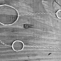 """Long Multi-Hoop Silver Necklace, Large and Small Hoop Necklace, 36"""""""