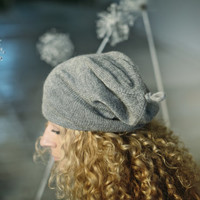 Slouchy woman 100% 'baby alpaca' hat / woman / adult / alpaca wool slouchy beanie / over-sized knit hat / white / gray / gray-white melange