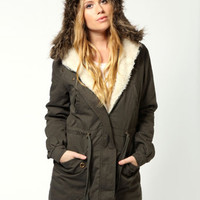 Army Green Drawstring Waist High-Low Hooded Coat