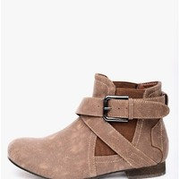 Brown Take a Hike Buckled Ankle Boots   $10.00   Cheap Trendy Boots Chic Discount Fashion for Women