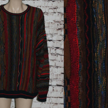 90s Cosby Sweater Hipster Mens Wear Coogi Colorful Ugly Tacky Party L Large Pull Over Grunge