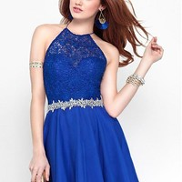 [84.99] Attractive Lace & Silk-like Chiffon Halter A-Line Short Homecoming Dresses With Beads & Rhinestones - dressilyme.com