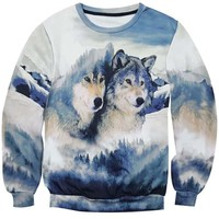 Wild Wolves in a Snowy Forest All Over Print Pullover Unisex Pullover Sweatshirt