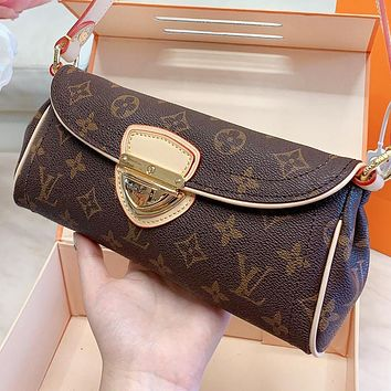LV Fashion New Monogram Leather Shoulder Bag Crossbody Bag Handbag Coffee