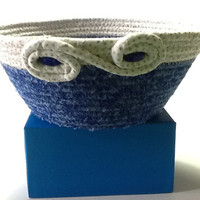 Blue and White Coiled Rope Bowl, Fabric Bowl, Catchall Basket, Organizer Basket, Quiltsy Handmade