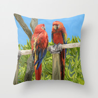 Scarlet Macaw Parrots Perching Throw Pillow by Distortion Art
