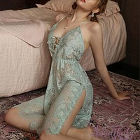 Green Floral Lace Pajamas for Women Transparent Low-Cut Deep V Backless Sleepwear Lingerie Strap with Thongs