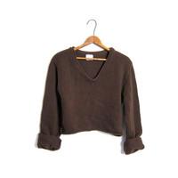 Brown Knit Cropped Sweater Vneck Cotton 90s Pullover Shirt Plain Long Sleeve Top Basic Crop Sweater Vintage Small