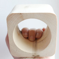 70 mm BIG Wooden bangle unfinished square - natural eco friendly te70o