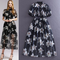 Black Button Collared Petals Printed Sheer Cuff Sleeves Empire  Swing Dress