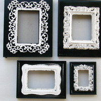 4 Shabby Chic Black Frames with a Chippy White Ornate Frame