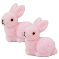 Pink Flocked Bunny Rabbit Cake Toppers