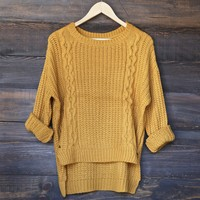 hi-lo cable knit sweater - mustard