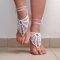Crochet White Barefoot Sandals, Nude shoes, Foot jewelry,Wedding, Victorian Lace, Sexy, Lolita, Bellydance, Steampunk, Yoga, Anklet