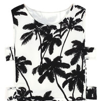 Black and White Palm Tree Crop Top with Cutout Sides