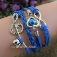 Navy blue rope bracelet - ancient silver jewellery and skull bracelet infinite love - retro fashion women jewelry gifts