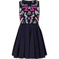 GIRLS NAVY AZTEC SEQUIN PROM DRESS