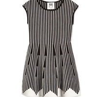 Vertical-Stripe Fit-and-Flare Dress, Black/White, Size 8-14,