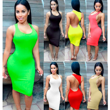 Summer Women's Fashion Sleeveless Hollow Out Backless Sexy One Piece Dress