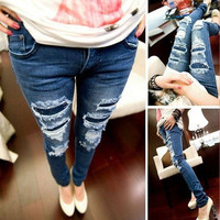 Denim Jeans Women New  Fashion Pencil Pants Vintage Hole Ripped Skinny Jeans Slim Fit Lady trousers female S M L XL size = 1929600452